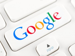 Google logotype on a keyboard button